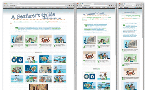 screenshots of 3 views of enviroguides.us showing responsive layouts